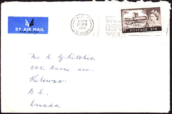 64371 - 1960 MAIL NEWRY (N IRELAND) TO CANADA 2/6 CASTLE ON COVER. Envelope County Down to Canada with 2/6d cast...