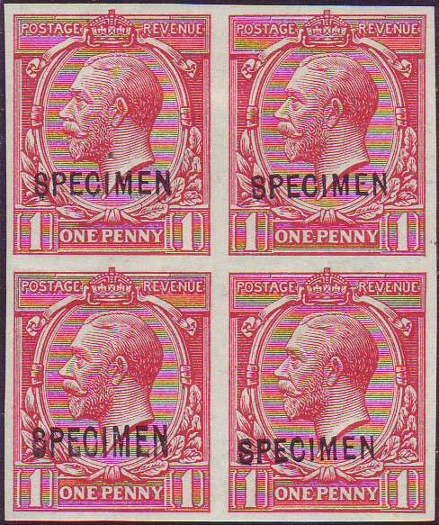 64434 - 1912 1D ROYAL CYPHER (SG357) IMPERFORATE OVERPRINTED 'SPECIMEN' TYPE 26 (SPEC N16t). A fine o.g.