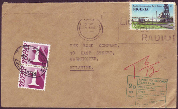 64549 - 1972 UNDERPAID MAIL NIGERIA TO UK. Envelope Nigeria to Warminster w...
