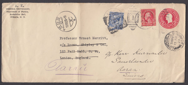 64730 - 1923 MAIL USA TO LONDON RE DIRECTED TO SWITZERLAND/COMBINATION US AND GB STAMPS.  US 2c postal stationery envelope uprated with...