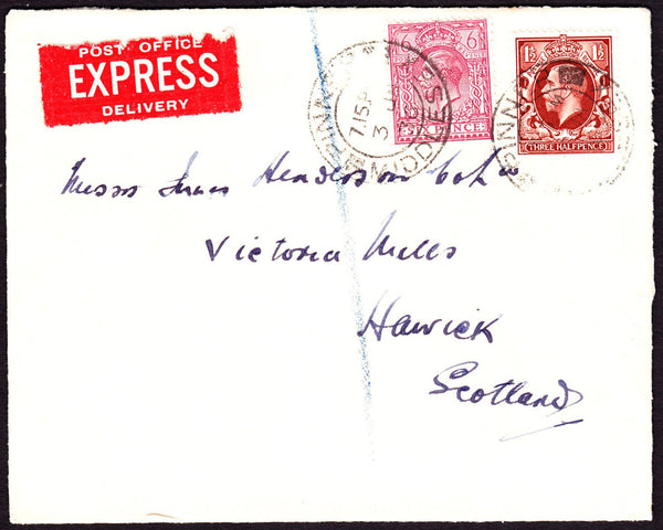 64770 - EXPRESS MAIL. 1936 envelope Pinner to Hawick, Scot...