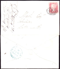 64905 - 1857 LEICS/'ULLESTHORPE' UDC (LC186)/1D TRANSITIONAL(SPEC C9) ON COVER. Envelope used locally in Lut...