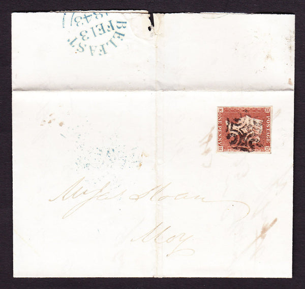 65106 - 1843 BELFAST TYPE 2 MALTESE CROSS ON COVER (NOT THE SPECIAL AS LISTED BY SG)/PL.19 (KH)(SG8).