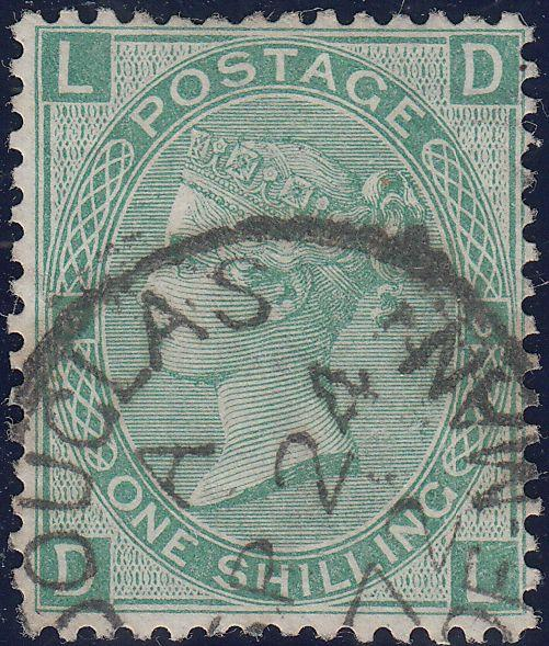 65705 - 1867 1/- GREEN Pl.6(SG115)(DL)/ISLE OF MAN. Good used lettere...