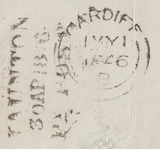 65757 - Pl.63 (QB)(SG8) ON COVER. 1846 wrapper Taunton to Cardiff w...