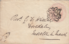 "65801 -  1843 1D PINK ENVELOPE/LONDON NUMBER ""6"" IN MALTESE CROSS. A g..."