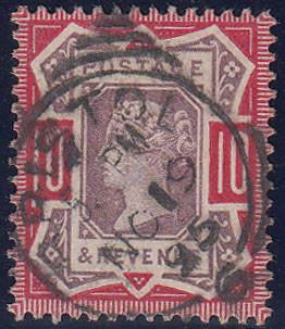 65987 - 1890 10d Jubilee (SG 210). Good to fine used cance...