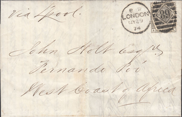 66049 - 1874 MAIL TO FERNANDO PO WEST COAST OF AFRICA. 1874 let...