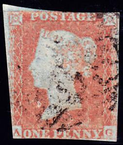 66236 - 1852 1d pl.139(AG) (SG 8). Used example lettered AG...