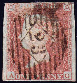 66245 - 1852 1d pl.146 (AG)(SG 8). Used example lettered A...
