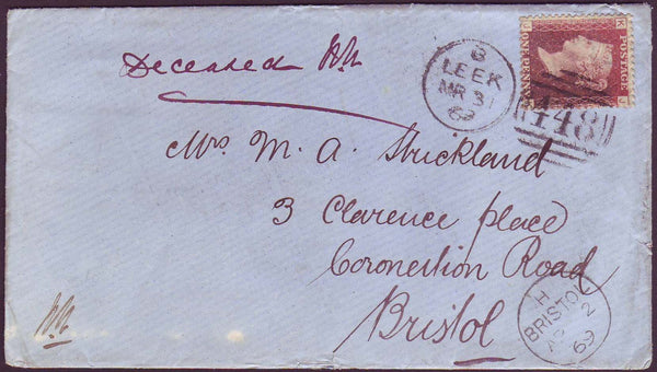 66315 - 1869 MAIL LEEK (STAFFS) TO BRISTOL/MANUSCRIPT 'DECEASED'. 1869 envelope, with letter, Leek to Brist...