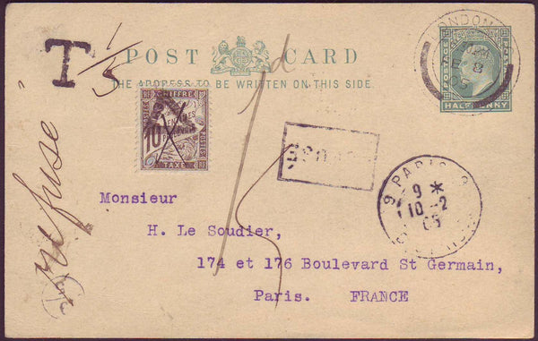66336 - 1905 UNDERPAID MAIL LONDON TO PARIS. 1905 KEDVII ½d postal stationery post ...