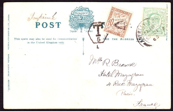 66339 - 1906 UNDERPAID MAIL SURREY TO PARIS. 1906 post card of Stratford fro...