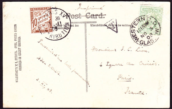 66341 - 1908 UNDERPAID MAIL GLASGOW TO PARIS/POSTAGE DUE. 1908 post card Mason's Cove Arbroath G...