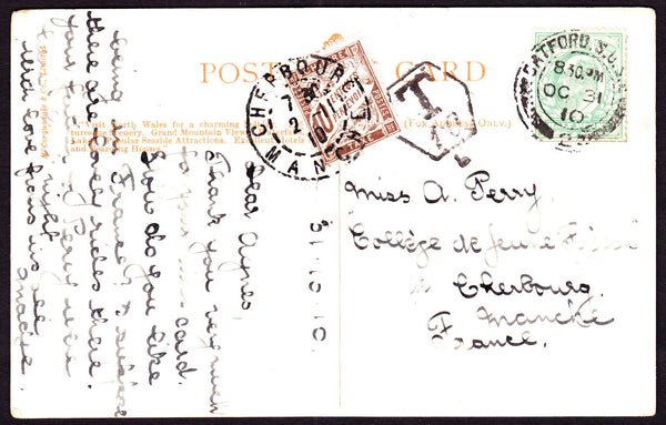 66342 - 1910 UNDERPAID MAIL LONDON TO FRANCE. Post card