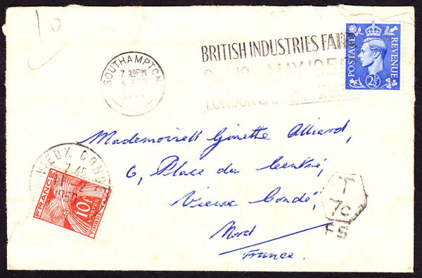 66418 - 1950 UNDERPAID MAIL UK TO FRANCE. Envelope (imperfections) S...