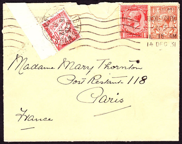 66472 - 1931 UNDERPAID MAIL TO FRANCE/POSTE RESTANTE. Envelope (roughly opened) Finchl...