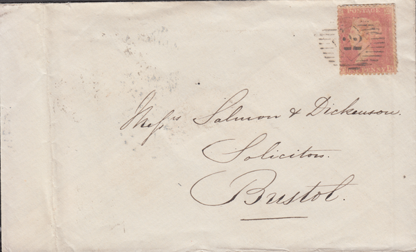 66746 - BRISTOL BROKEN ARCS DATE STAMP.. 1857 envelope London to Bristol with SG 4...