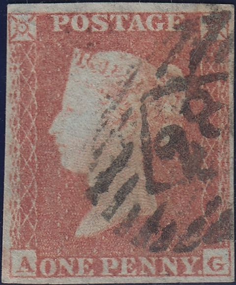 66860 - Pl.165(AG)(SG8)/MISSING IMPRIMATUR LETTERING.  Good used 1853 1d pl.
