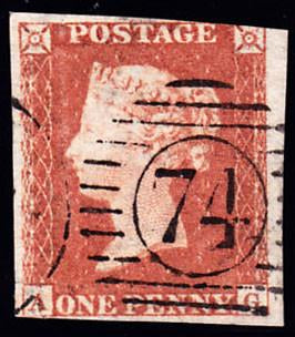66867 - 1853 1d pl.172 (AG)(SG 8). Used example lettered A...