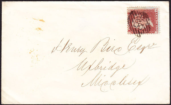66987 - 1856 envelope London to Uxbridge with SG29 plate 4...