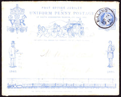 67024 - 1890 PENNY POSTAGE JUBILEE ENVELOPE USED LOCALLY IN EALING IN 1911 . A used 1d blue envelope use...