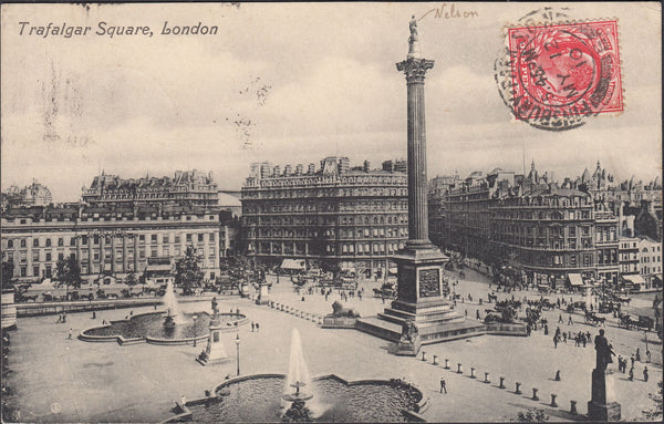 67114 - 1910 POST CARD LONDON TO FRANCE STAMP ON INCORRECT SIDE BUT NOT SURCHARGED.  Post card of Trafalgar Square to France with K...