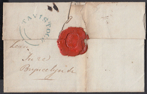 67197 - DEVON. 1829 wrapper Tavistock to North Wales dated...
