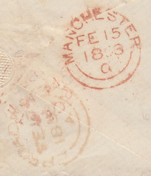 67229 - MISSENT TO WORCESTER (WO927)/PL.157(OJ). 1853 envelope Manchester to Broadway...