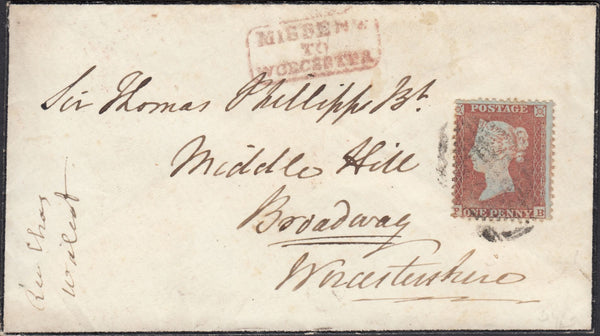 67230 - MISSENT MAIL/1855 DIE 1 PL.200 S.C.14 (SG 22)(PB) ON COVER. 1855 mourning ...