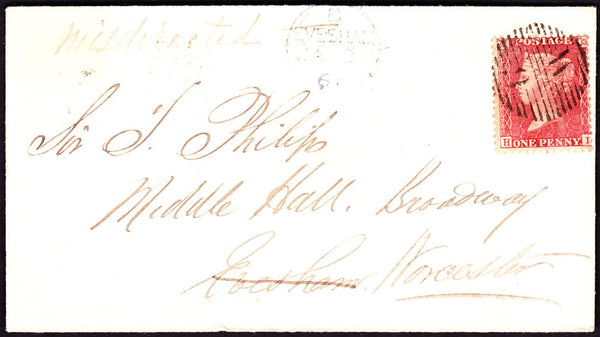 67232 - MIS-SENT MAIL. 1861 envelope London to Middle Hall...