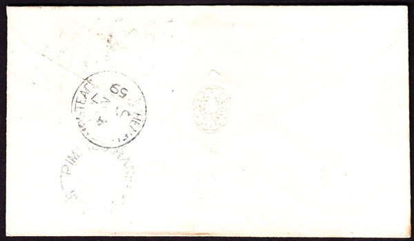 67244 - 1859 envelope London to Herts with SG40 pl.36 lett...