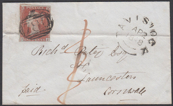 67324 - 1848 1D RATE RECEIPTED WITH STAMP AND MANUSCRIPT. Envelope Tavistock to Launceston with 4 margi...