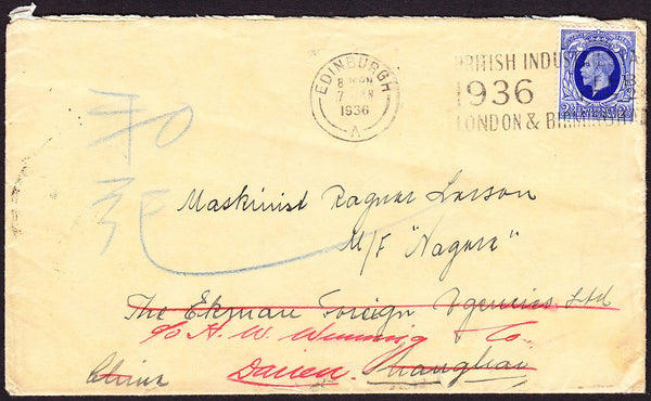 67376 - MAIL TO CHINA. 1936 envelope (light bend) Edinburg...