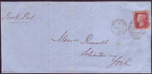67424 - 1872 BOOK POST/YORKSHIRE. 1872 wrapper Beverley to York...
