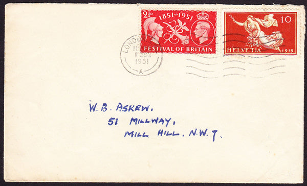 67598 - 1951 envelope used locally in London with KGVI 2½d...