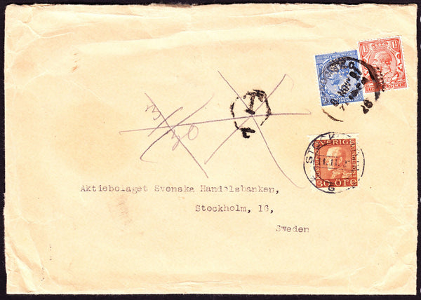 67624 - 1927 UNDERPAID MAIL LONDON TO SWEDEN. 1927 envelope London to Sweden with K...