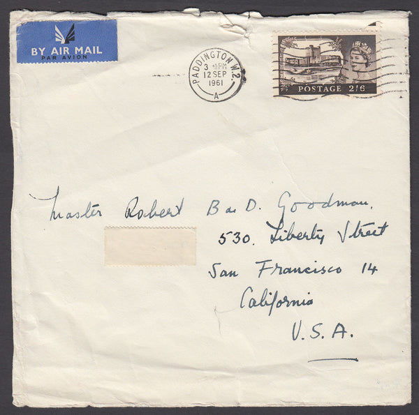 67647 - 1961 MAIL PADDINGTON TO USA 2/6D CASTLE. Larger envelope (158x154) London to California (slight imperfe...