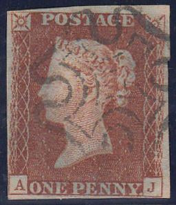 67652 - 1841 1d pl.16 lettered AJ (SG8). Good used with fo...