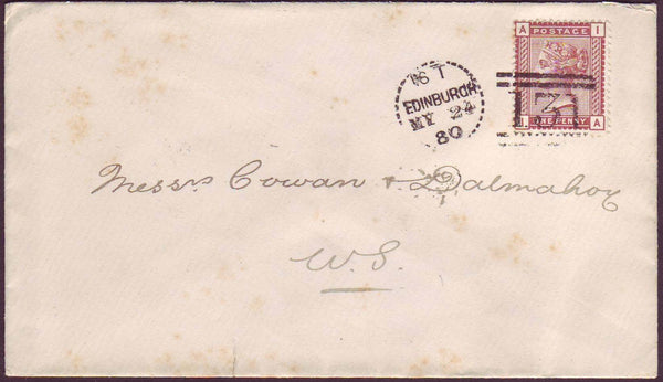 67712 - EDINBURGH DOTTED CIRCLE (RAC1). 1880 envelope used...