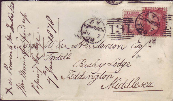 67772 - EDINBURGH DOTTED CIRCLE (RA11). 1878 envelope to T...