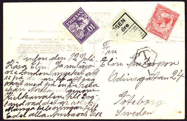 67778 - 1927 UNDERPAID MAIL CHATHAM TO SWEDEN. 1927 post card Chatham ...