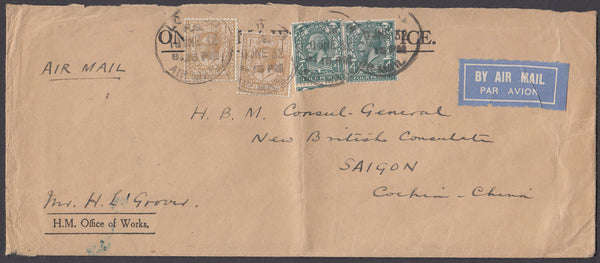 67842 - 1932 MAIL LONDON TO SAIGON COCHIN CHINA. Large envelope (224x95)
