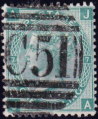 67862 - 1873 1/- green pl.7 (SG117) a fine used example le...