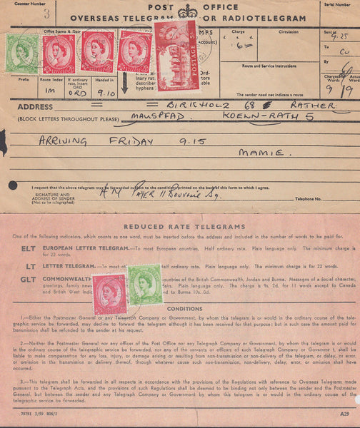 68320 - 1964 QEII TELEGRAM/5S CASTLE. Telegram (215x121) Folkestone to Germany...