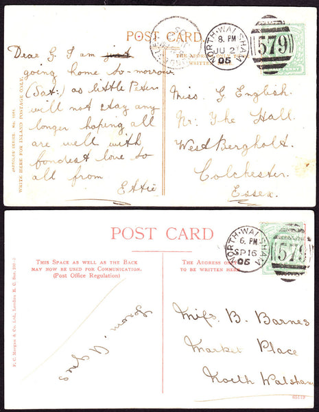 68454 - NORFOLK/'NORTH WALSHAM/579' DUPLEX. Four post cards 1904-06