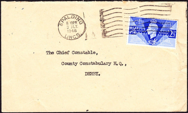 68562 - LINCOLNSHIRE. 1946 envelope Spalding to The Chief ...
