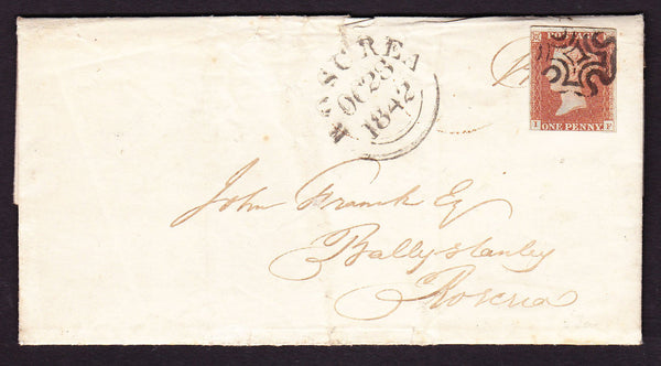 68572 - 1842 DUBLIN 'COMMON' TYPE CROSS ON COVER/PL.25(IF)(SG8). Enti...