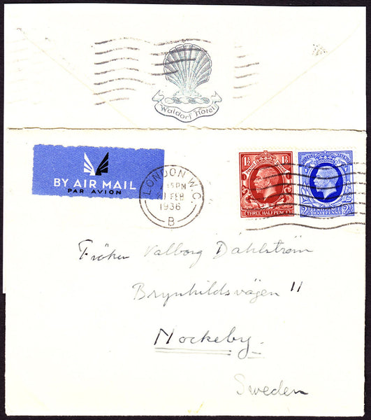 68756 - 1936 SURFACE MAIL TO SWEDEN. Envelope London to No...