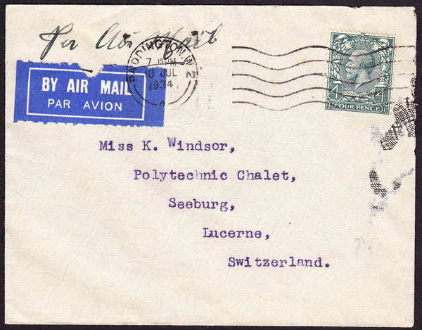 68766 - 1937 AIR MAIL PADDINGTON TO SWITZERLAND. Envelope (slight fau...